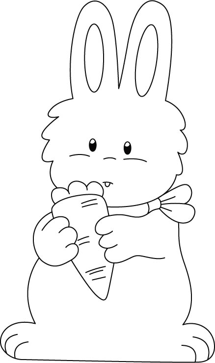 rabbit with carrot colouring pages