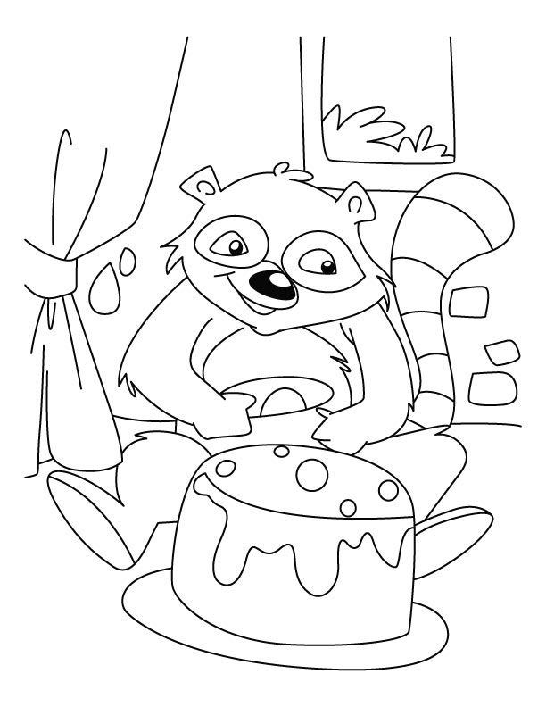 Raccoon celebrating his birthday coloring pages