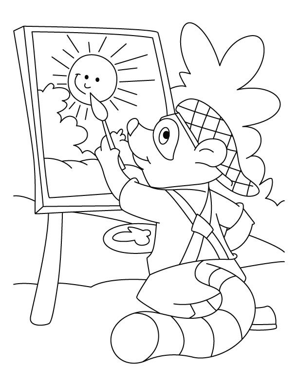 raccoon the painter coloring pages - Chester Raccoon Coloring Page