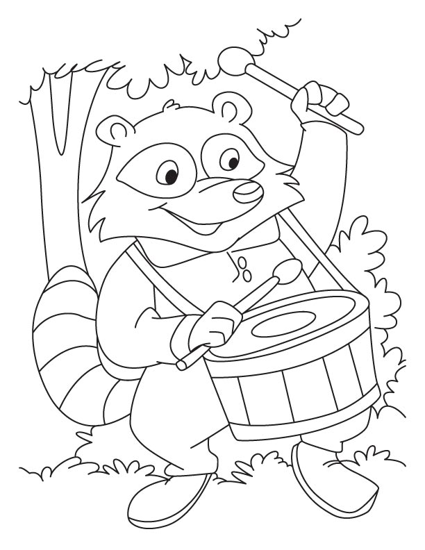 Raccoon The Drum Beater Coloring Pages