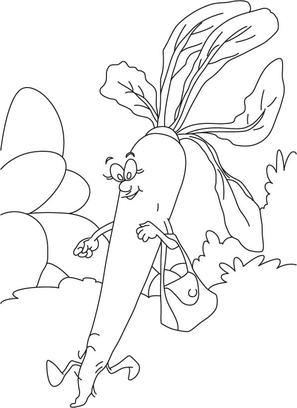 Radish Going To Market Coloring Page Download Free