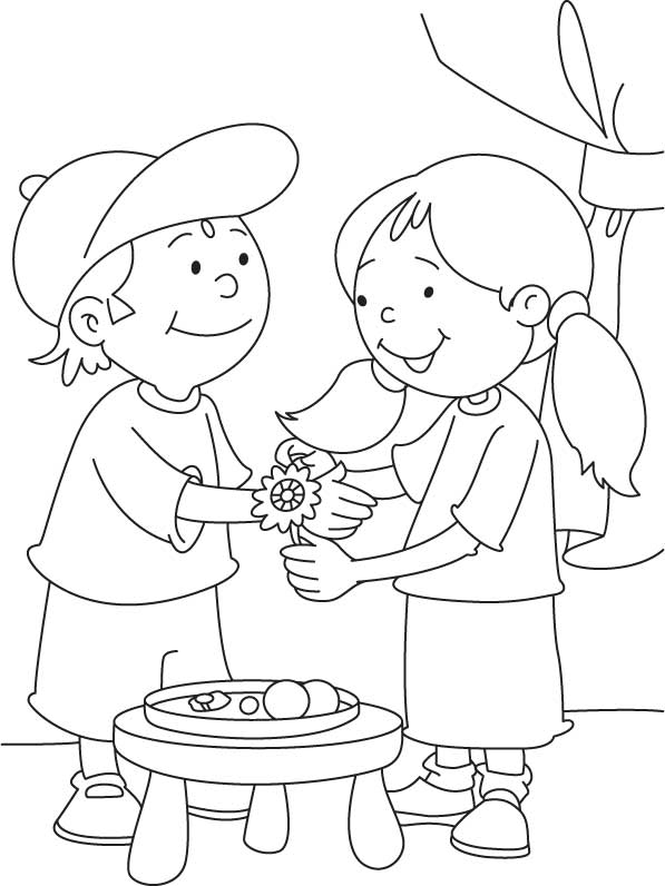 Raksha Bandhan coloring sheet