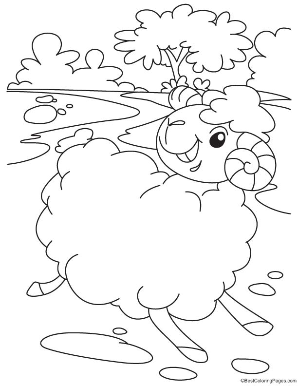 Ram running coloring page