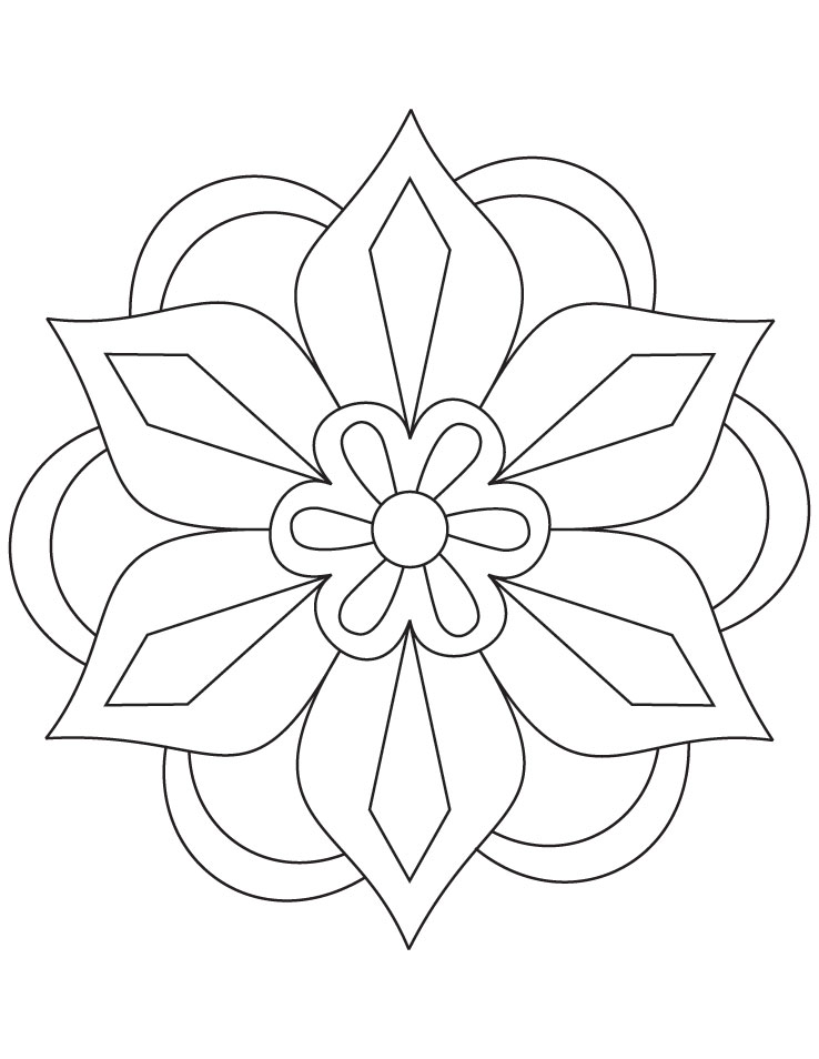 Flower Rangoli Coloring Page Download Free For Kids Best