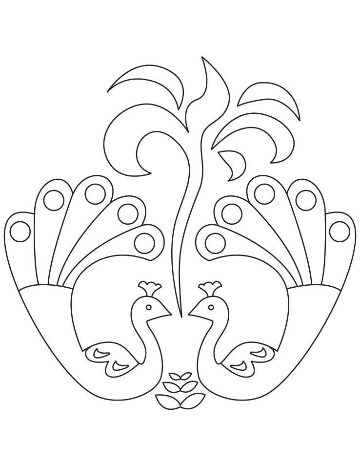 peacock rangoli coloring page - Rangoli Coloring Pages
