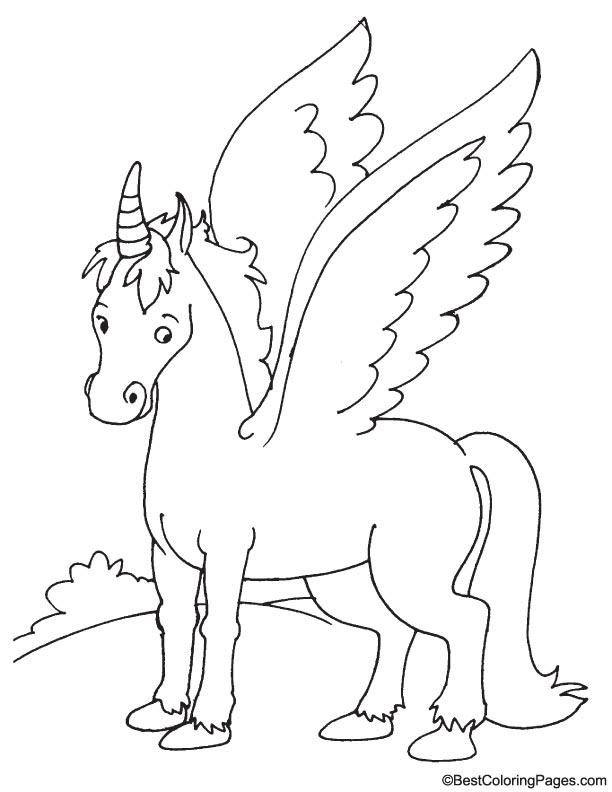 Realistic Pegasus coloring page