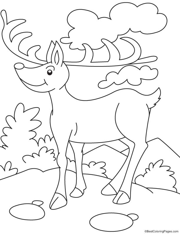 Reindeer at cloud seven coloring page