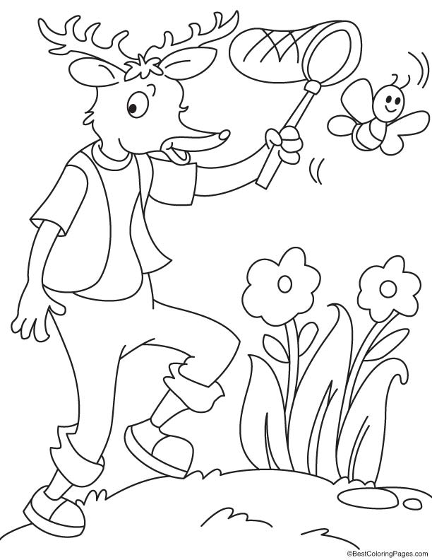 Reindeer catching a butterfly coloring page