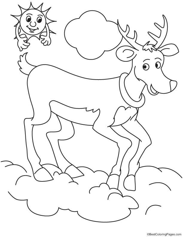 Reindeer in cloud coloring page