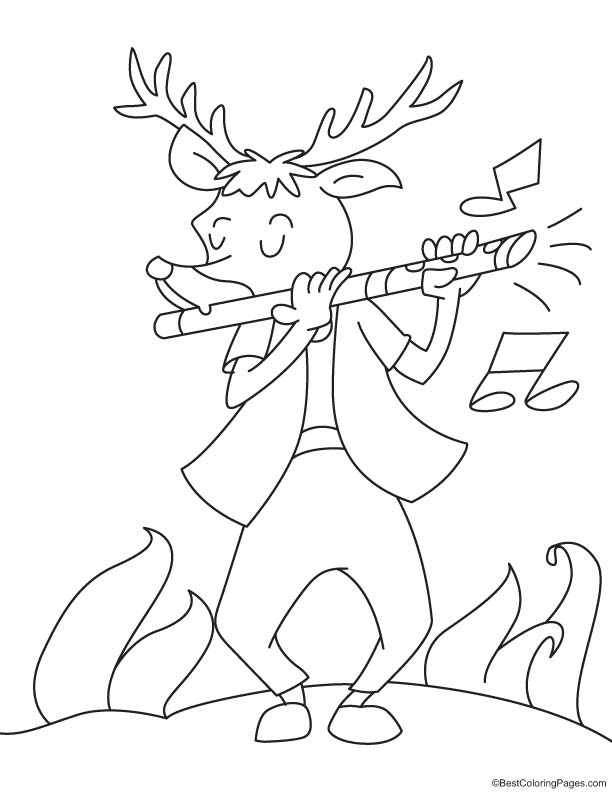 Reindeer playing flute coloring page