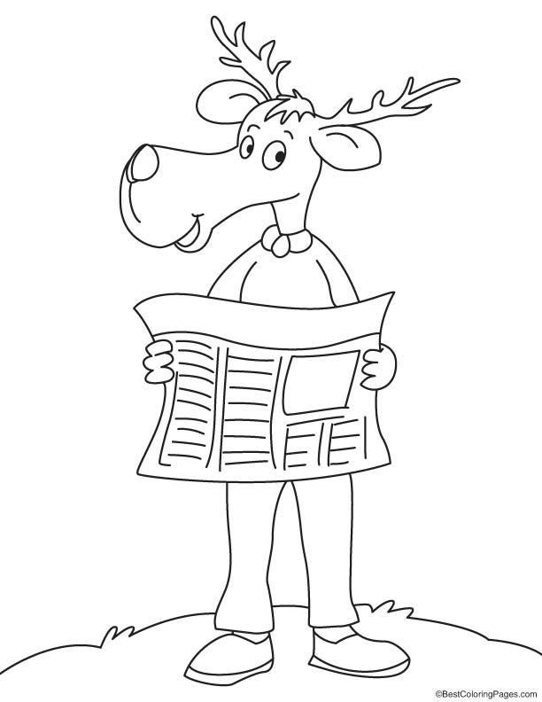 reindeer reading newspaper coloring page download free reindeer reading newspaper coloring. Black Bedroom Furniture Sets. Home Design Ideas