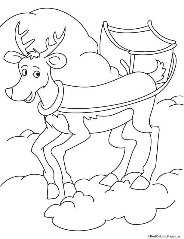 Reindeer ride coloring page