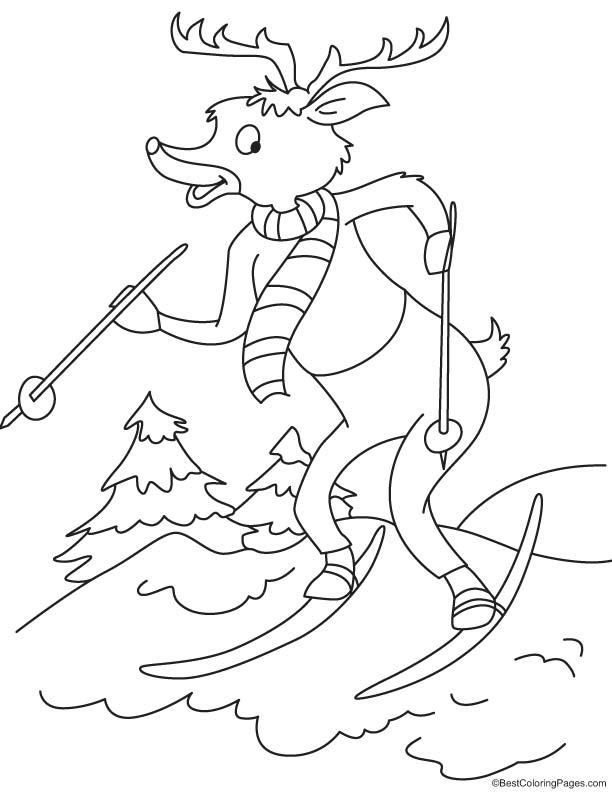 Reindeer ski racing coloring page