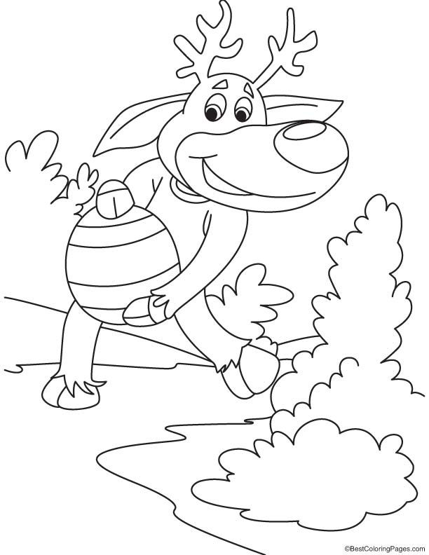 Reindeer with big egg coloring page