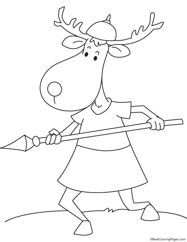 Reindeer with spear coloring page