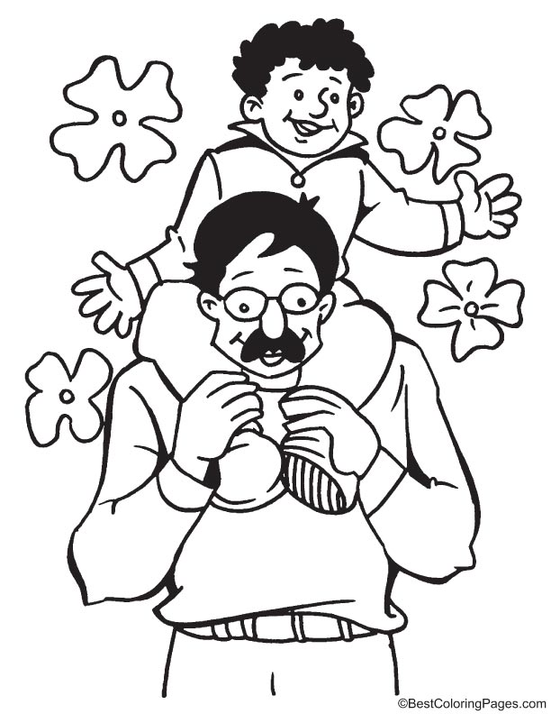 Rest on fathers shoulders coloring page