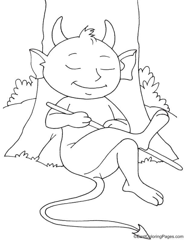 Resting devil coloring page