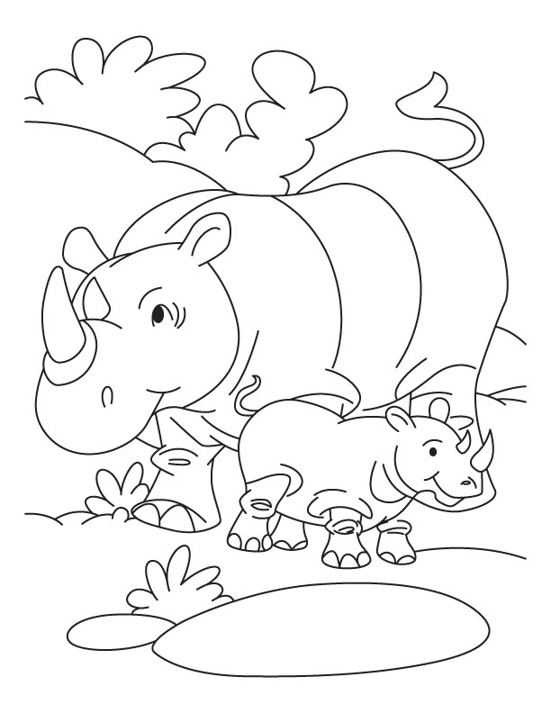 rhinoceros and baby rhinoceros coloring page download