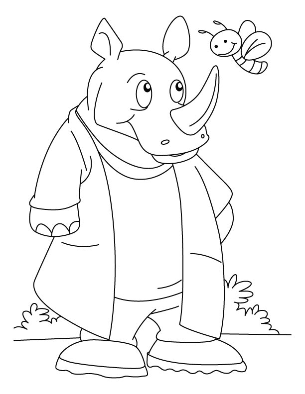 Rhinoceros talking with bee coloring pages