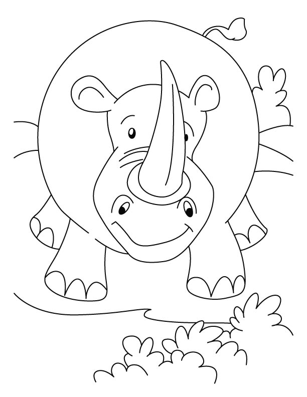 Rhinoceros in attacking mood coloring pages