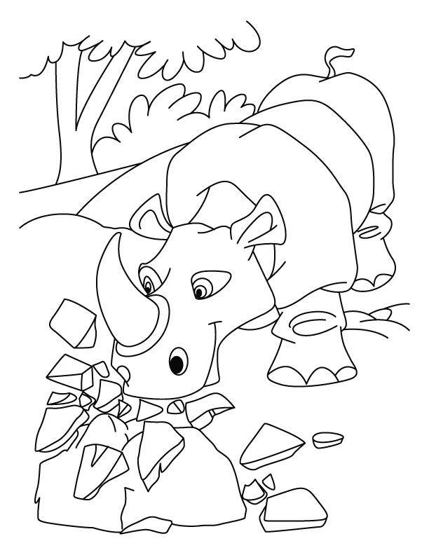 Angry rhinoceros coloring pages