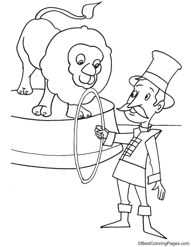 Ring master with lion coloring page