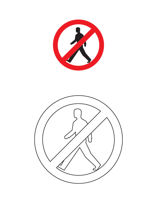 Pedestrians Prohibited Traffic Sign Coloring Page