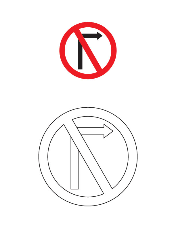 right turn prohibited traffic sign coloring page | download free ... - Turn A Photo A Coloring Page