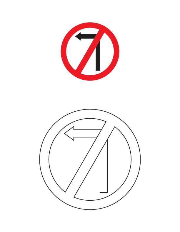 left turn prohibited traffic sign coloring page | download free ... - Turn A Photo A Coloring Page
