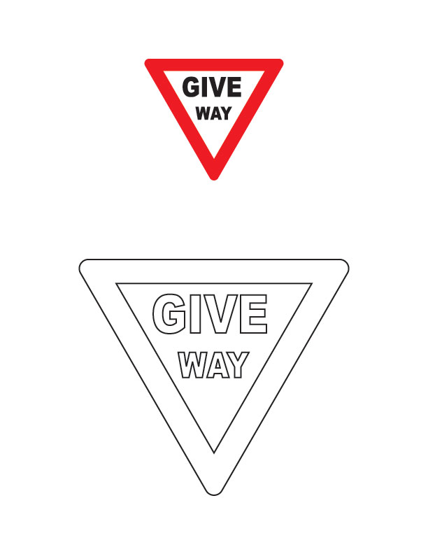 Give Way Traffic Sign Coloring Page