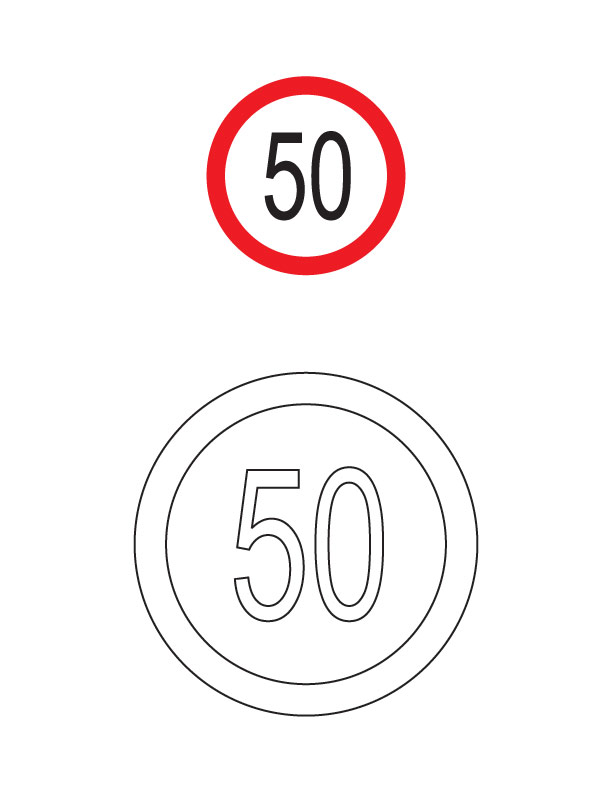 Speed limit traffic sign coloring page | Download Free Speed limit ...