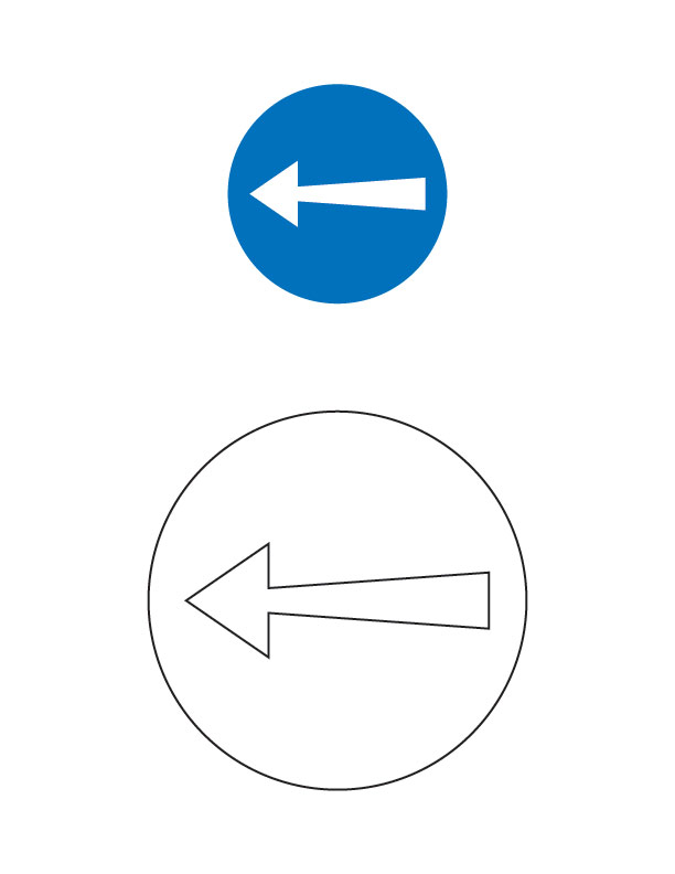 compulsory turn left traffic sign coloring page - Turn A Photo A Coloring Page