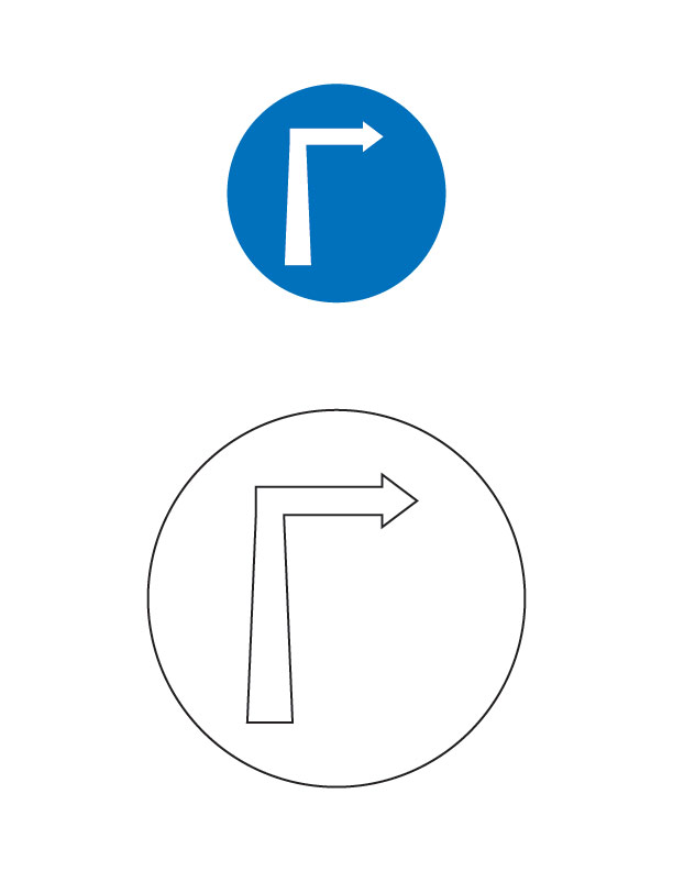 compulsory turn right traffic sign coloring page - Turn A Photo A Coloring Page