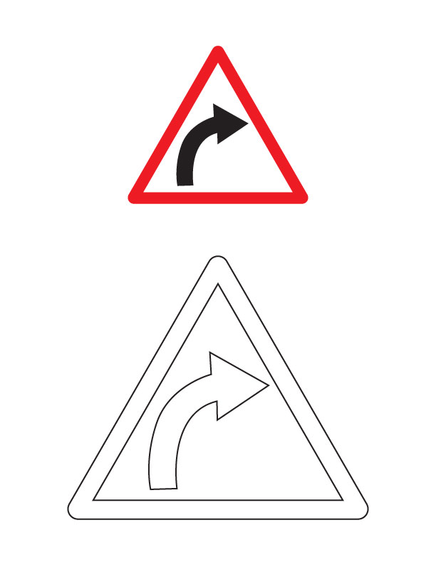 right hand curve traffic sign coloring page - Turn A Photo A Coloring Page
