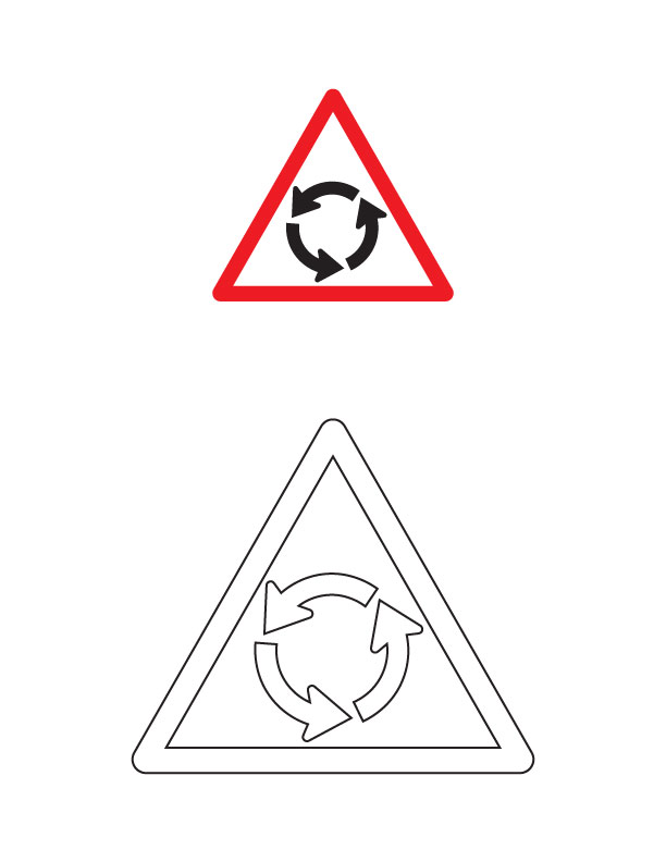 Round About Traffic Sign Coloring Page