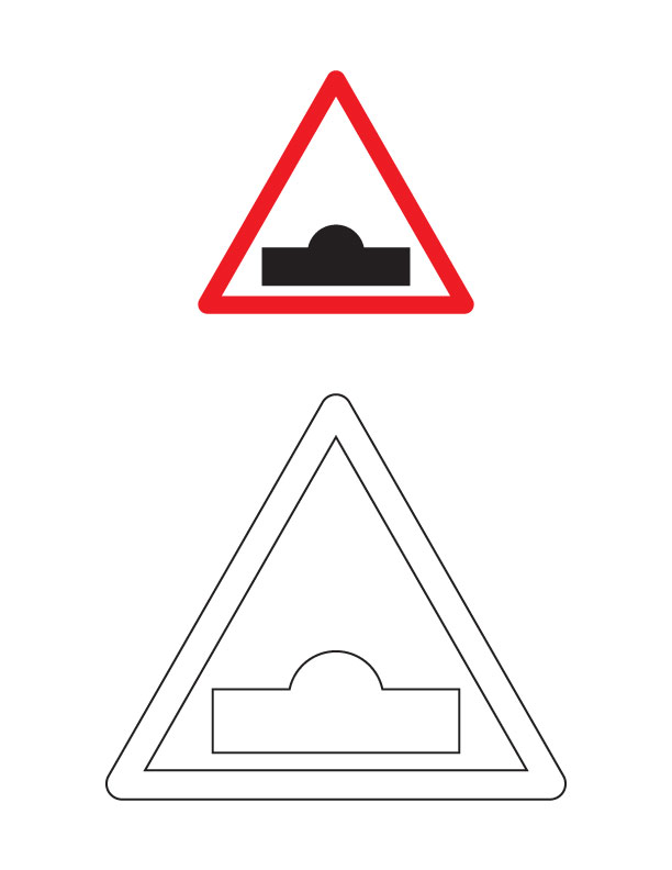 Speed breaker traffic sign coloring page Download Free Speed