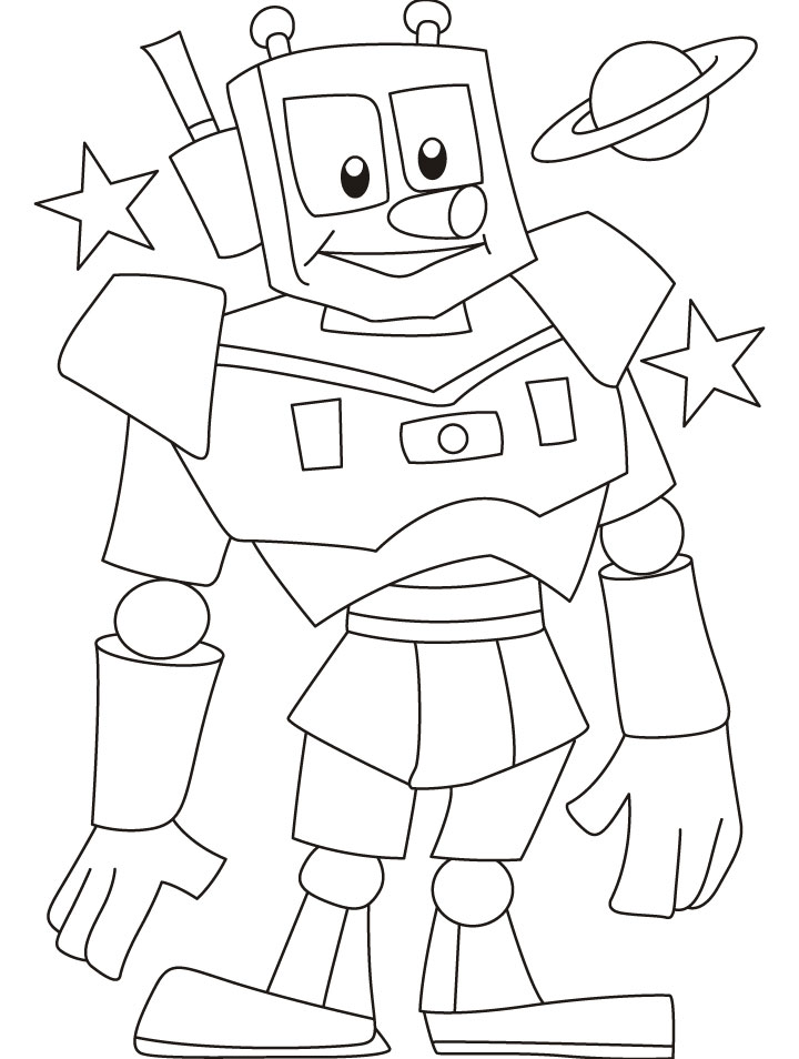 Shiny metal man robot for your help coloring pages Download Free