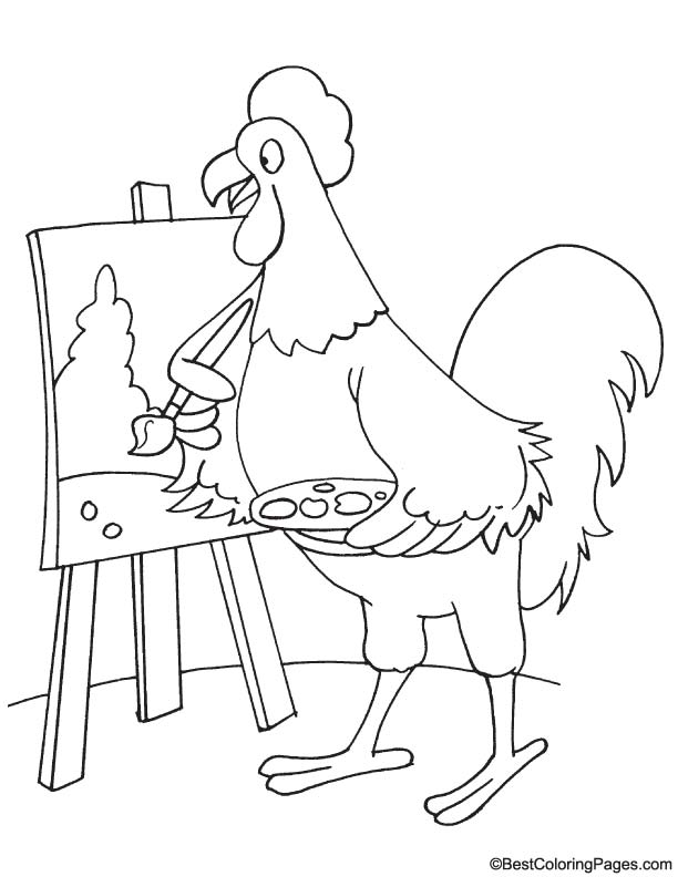 Rooster artist coloring page