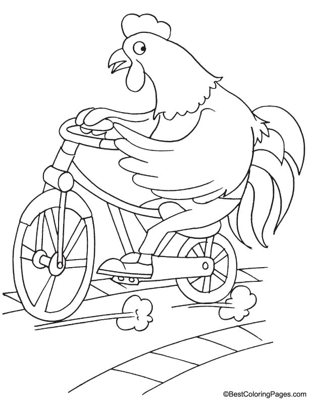 Rooster cycling coloring page
