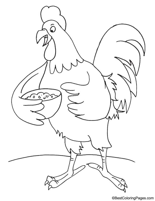 Rooster food coloring page