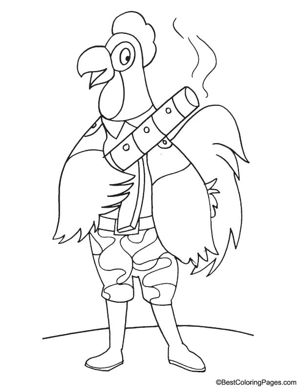 Rooster in army coloring page