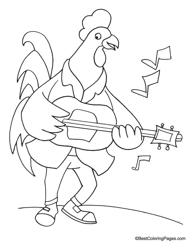 Rooster in club coloring page