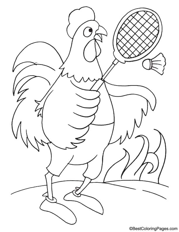 Rooster in playground coloring page