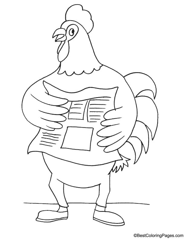 Rooster reporter coloring page