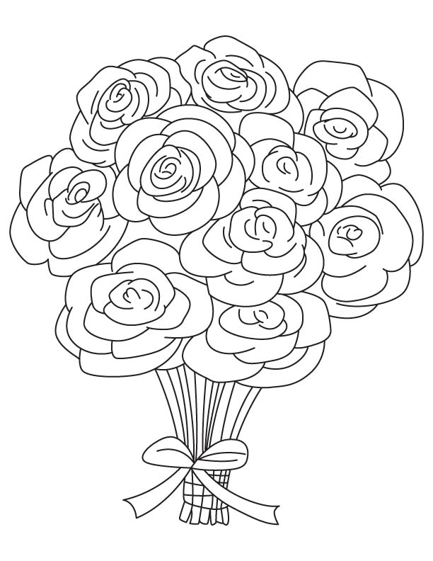 bouquet of flowers coloring pages - rose bouquet coloring page download free rose bouquet