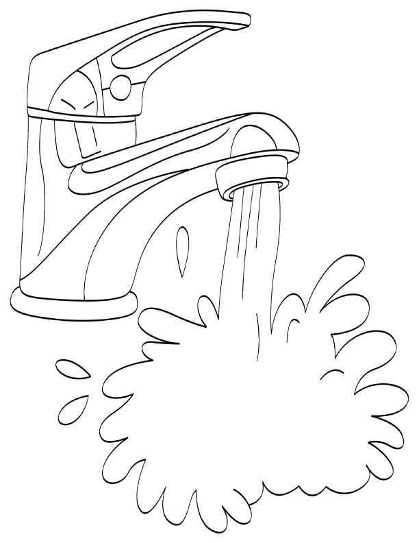 Running water from tap coloring page Download Free Running water