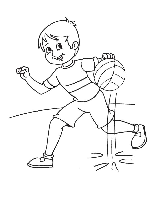 Running with basketball coloring page