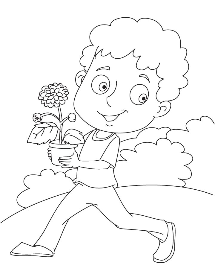 Running with chrysanthemum coloring page