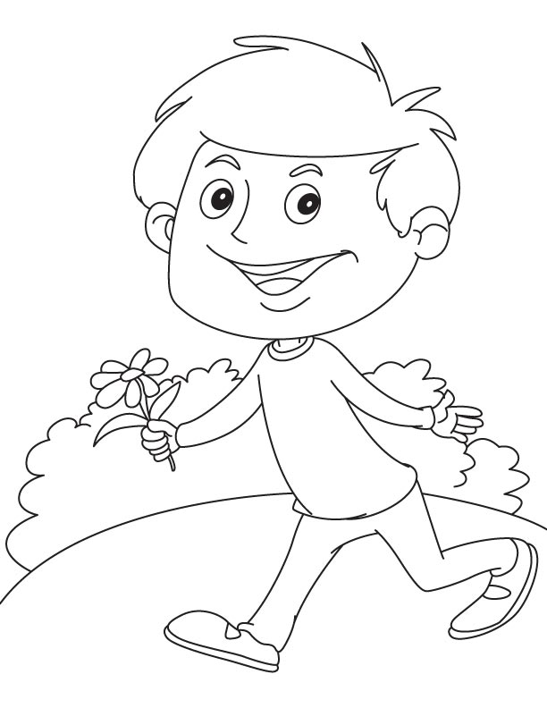 Running with daisy coloring page