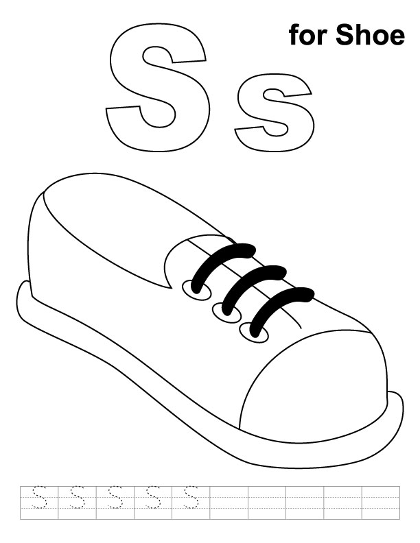 S for shoe coloring page with handwriting practice